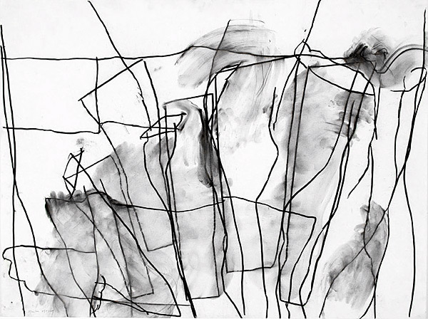 sea building, 2005, charcoal on paper, 30 x 40""