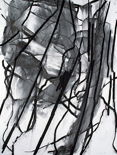 untitled , 1997, charcoal on paper, 40 x 30""