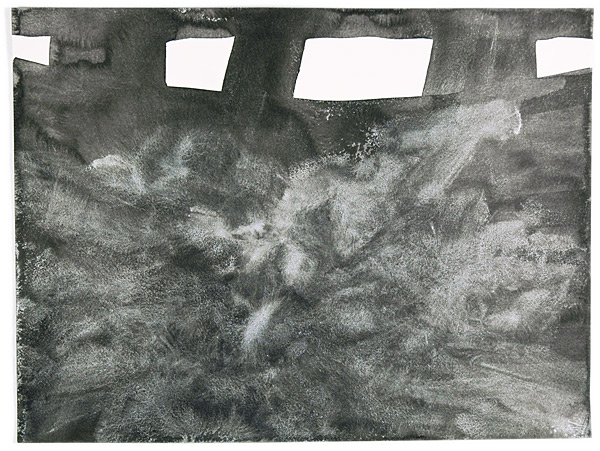 untitled, 2009, sumi and acrylic on paper, 12 x 16""