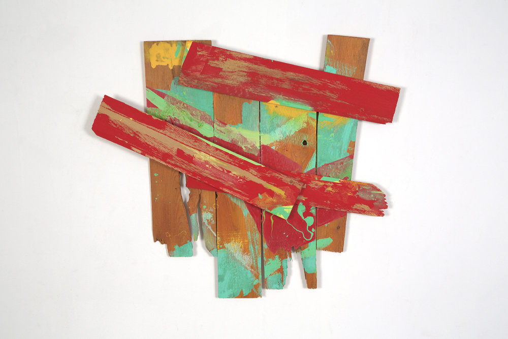 """Theatre"", 2014, acrylic on wood shims, 20 x 20"""