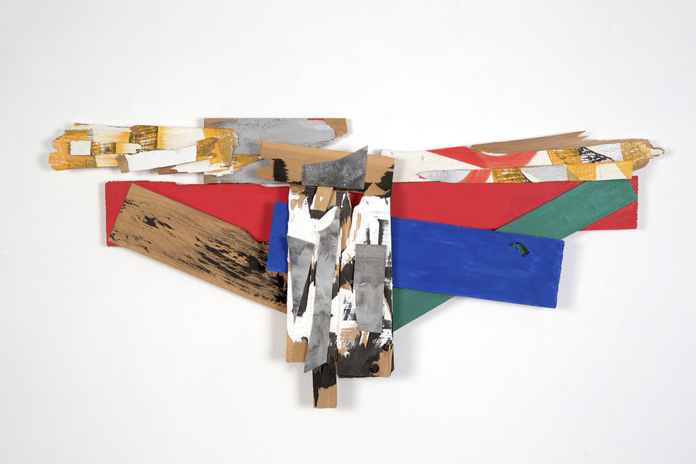 Browser, 2012, acrylic on wood shims and paper, 15 x 33""