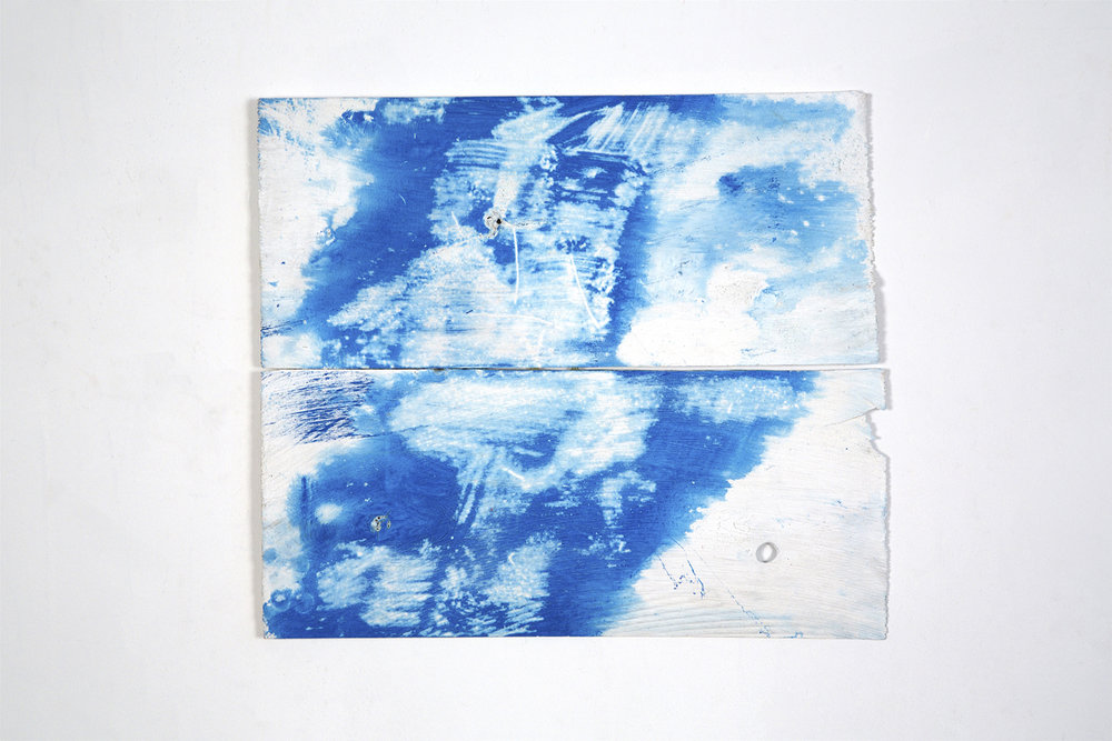 "Weil, 2014, acrylic on wood shims, 12 x 16"""
