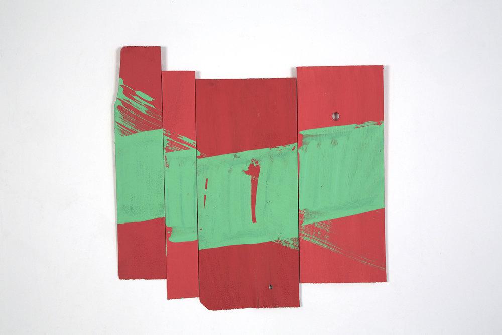 """Rigmarole"", 2014, acrylic on wood shims, 18 x 18"""