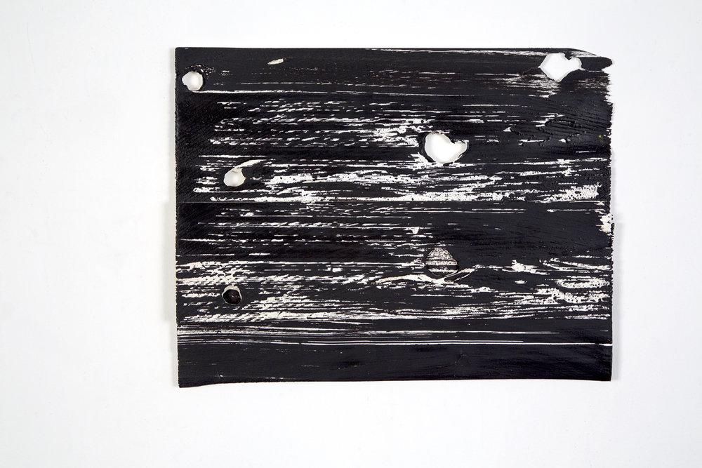 """Narcissus Blinking, 2016, acrylic on wood shims, 12 x 16"""""""