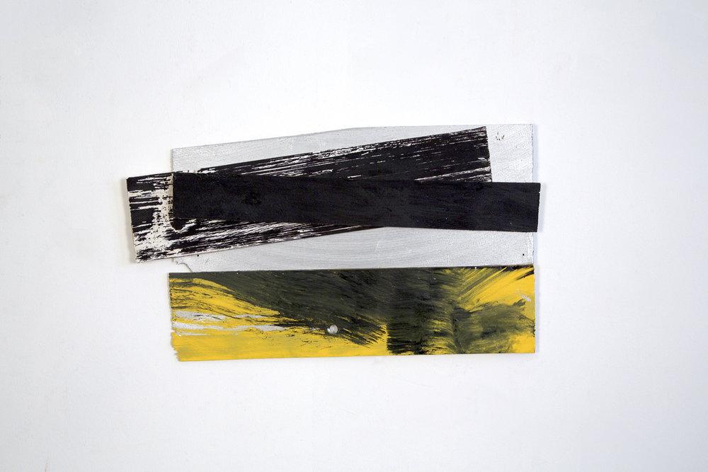 """""""Wright"""", 2016, acrylic on wood shims, 8 x 18"""""""