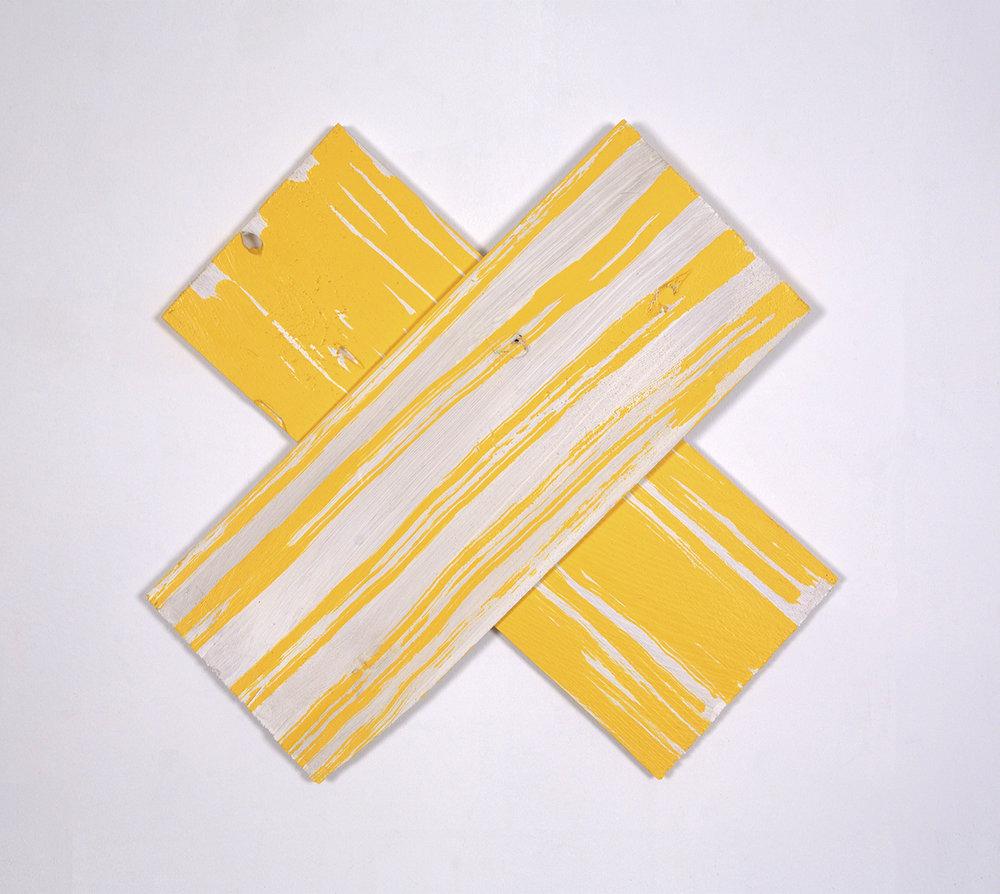 """Hackensack Criss Cross"", 2016, acrylic on wood shims, 16 x16"""