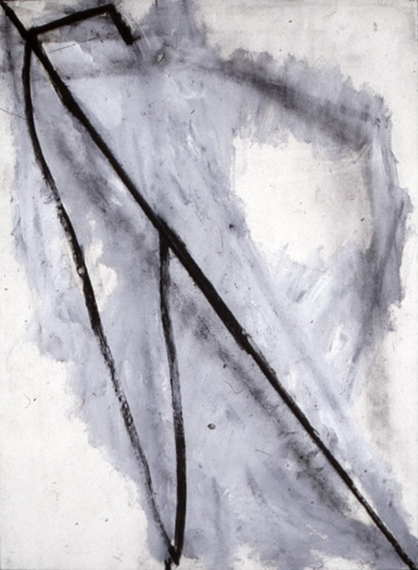 untitled, 1974, charcoal / acrylic on paper, 30 x 22""