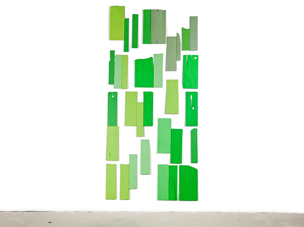 Green Wall, 2008, acrylic on white cedar shims with wire brads, 90 x 45""