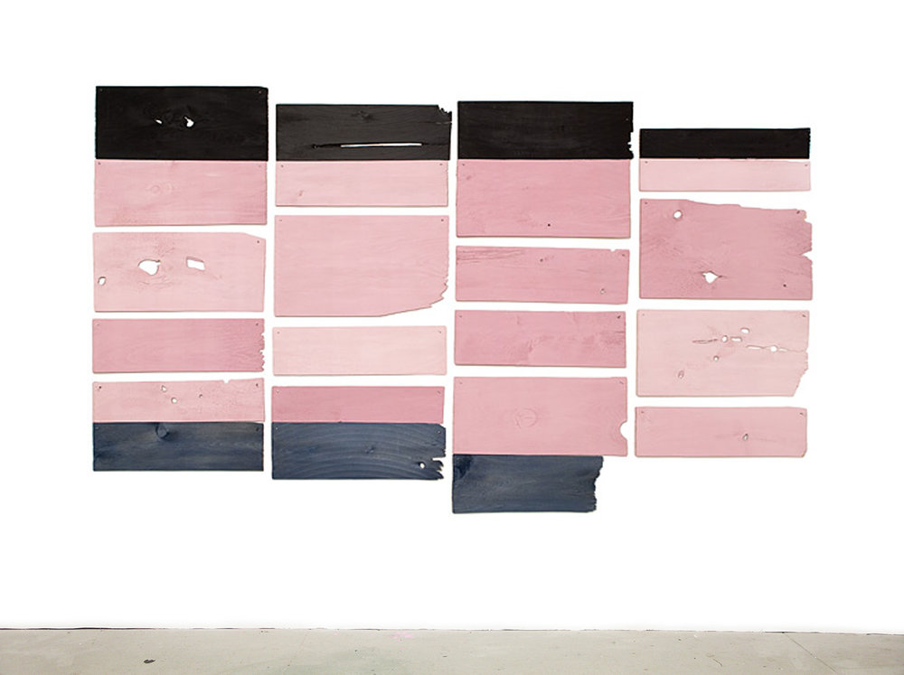 Mauve Move 2008, acrylic on white cedar shims with wire brads, 40 x 67""