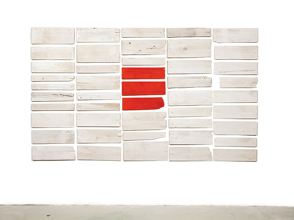 Red Dot in a White Lake, 2006, acrylic on white cedar shims with wire brads, 49.5 x 84.5""