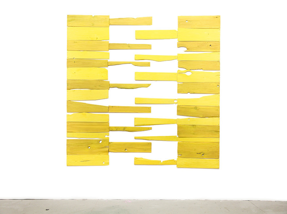 3 into 4, 2009, acrylic on white cedar shims with wire brads, 58 x 58""