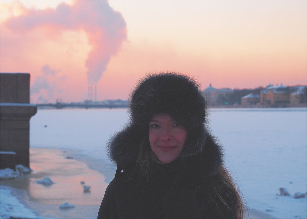 In Front of Frozen Neva River