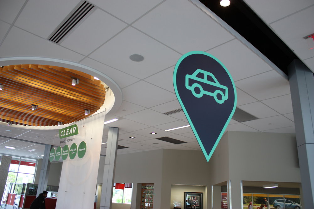 hung our in-app location pin from the ceiling,
