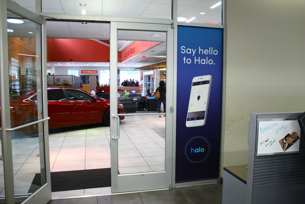 We installed window vinyl in their service bay,
