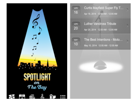 Download the Spotlight on the Bay - mobile app for iOS and Android phones