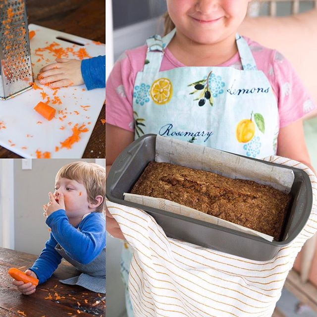 Carrot bread (recipe coming soon) is a #mylilsous fave. Carrots are perfect for rookie graters. What's on your weekend cooking agenda? (Click link in bio to sign up for our newsletter and be the first to know when My Lil' Sous goes live next month).