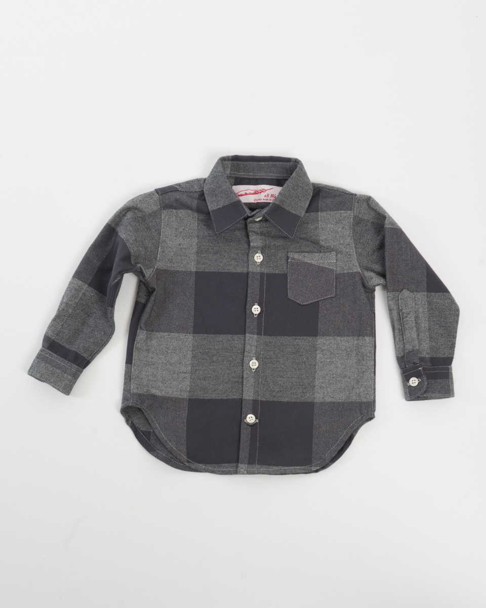 Kids Baby Shirt - Charcoal Check Flannel.jpg