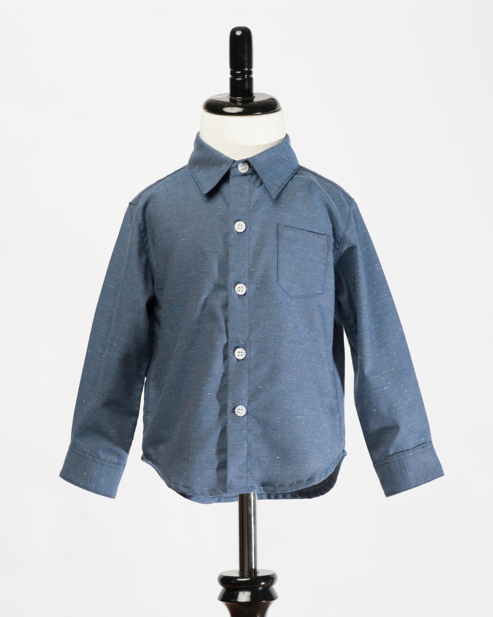 Kids Long Sleeves Navy Fleck Shirt Front FW17.jpg