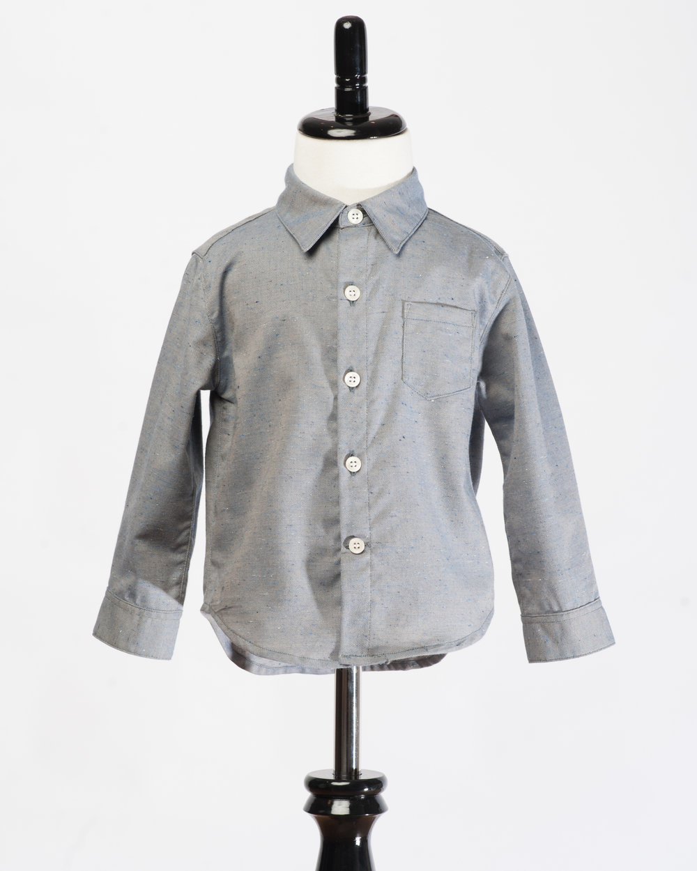 Kids Long Sleeves Grey Fleck Shirt Front FW17.jpg