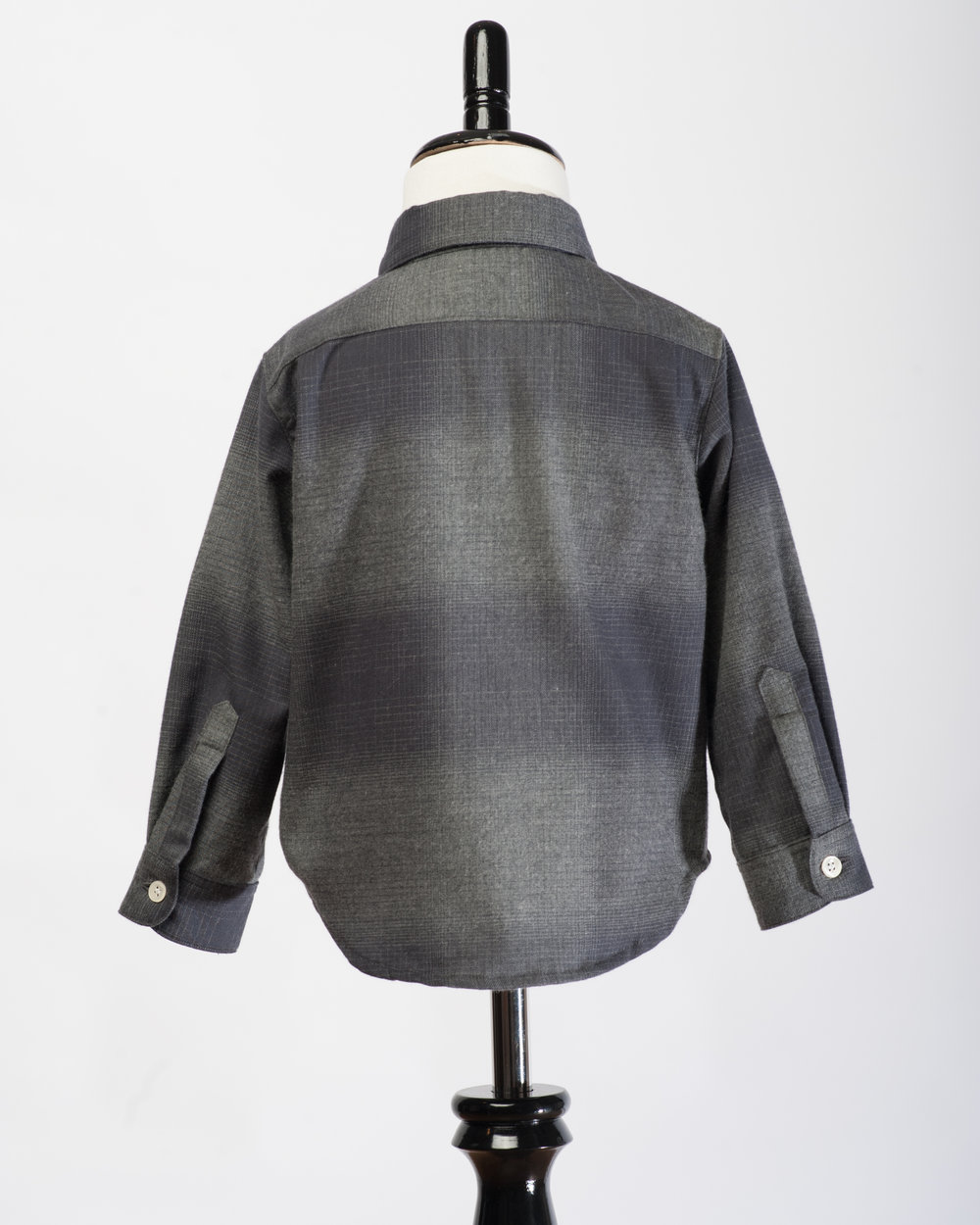 Kids Long Sleeves Charcoal Check Shirt Back FW17.jpg