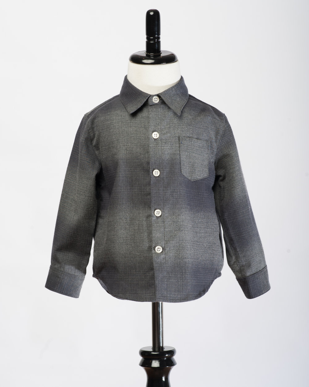Kids Long Sleeves Charcoal Check Shirt Front FW17.jpg