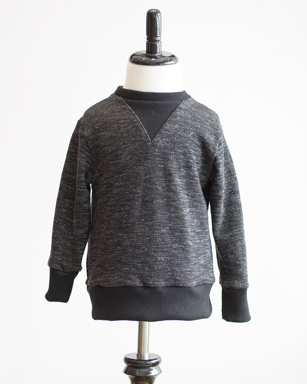 Kids Black Melange French Terry Sweater Front FW17.jpg