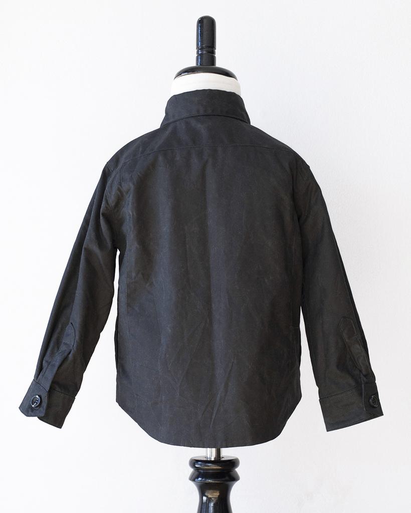 Kids Black Wax Cotton Weekender Jacket - back.jpg