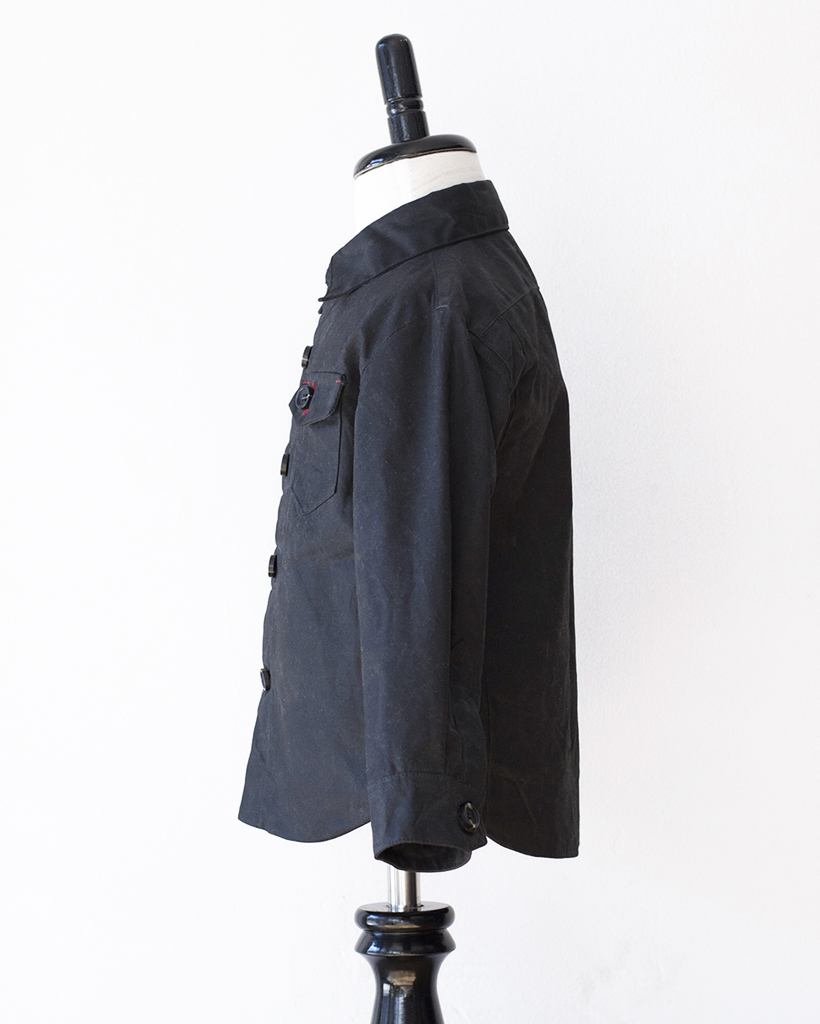 Kids Black Wax Cotton Weekender Jacket - side.jpg