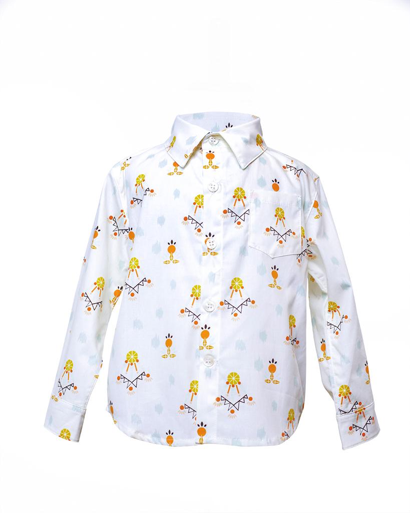 Kids Dreamcatcher Print Long Sleeve Button Up Front.jpg