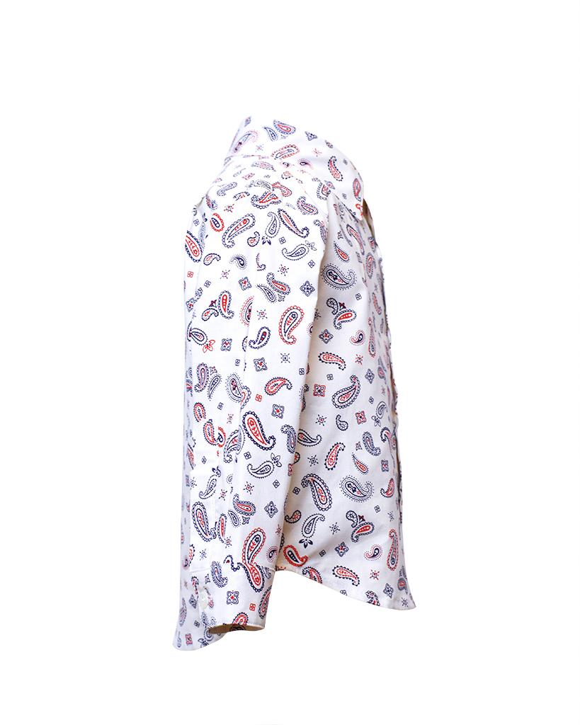 Kids White Paisley Print Lonng Sleeve Button Up Side.jpg