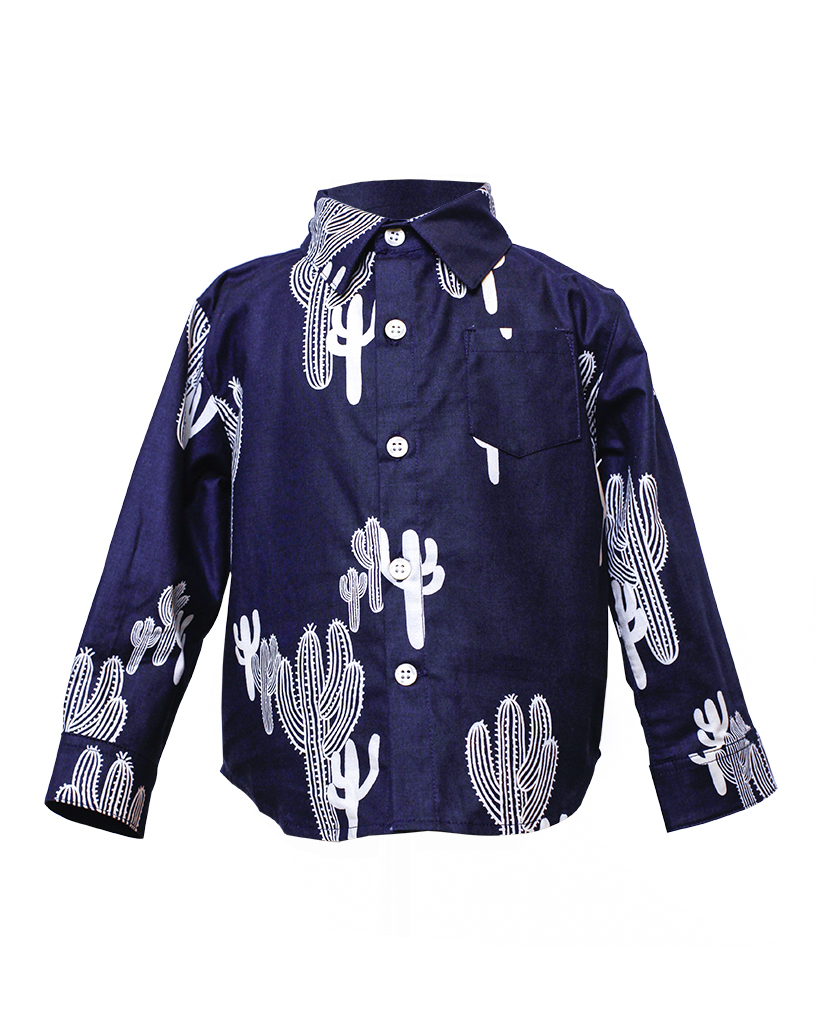 Kids Navy Cactus Print Long Sleeve Button Up Front.jpg