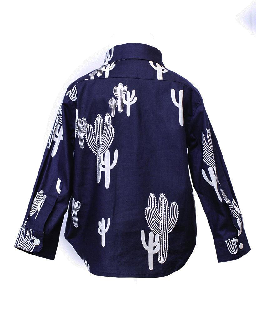 Kids Navy Cactus Print Long Sleeve Button Up Back.jpg