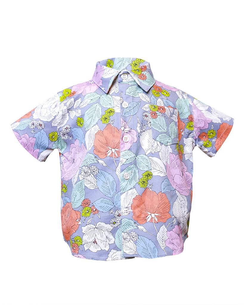Kids Floral Print Short Sleeve Button Up Front.jpg
