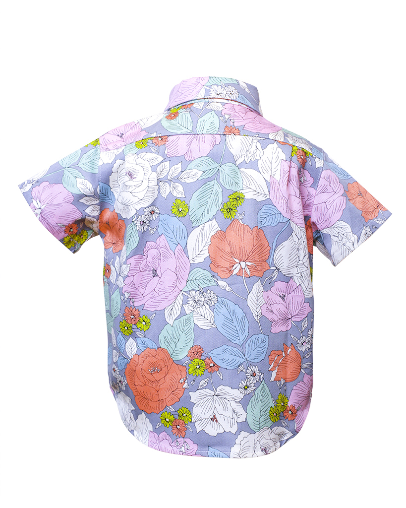 Kids Floral Print Short Sleeve Button Up Back.jpg