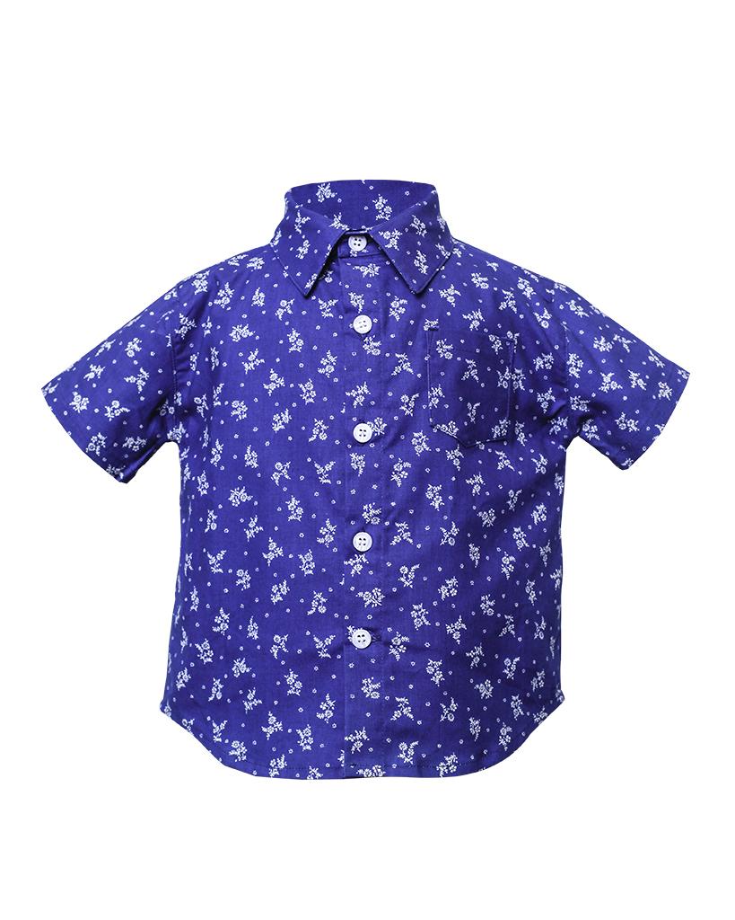 Kids Indigo Floral Print Short Sleeve Button Up Front.jpg