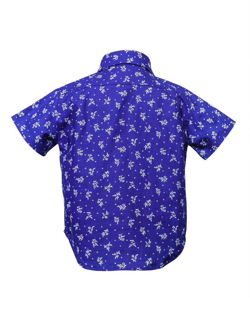 Kids Indigo Floral Print Short Sleeve Button Up Back.jpg