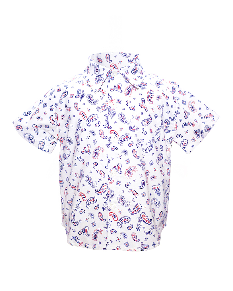 Kids White Paisley Print Short Sleeve Button Up Front.jpg