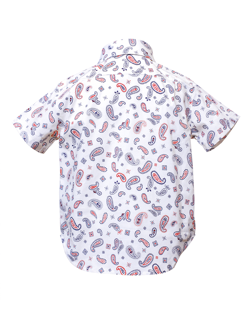 Kids White Paisley Print Short Sleeve Button Up Back.jpg