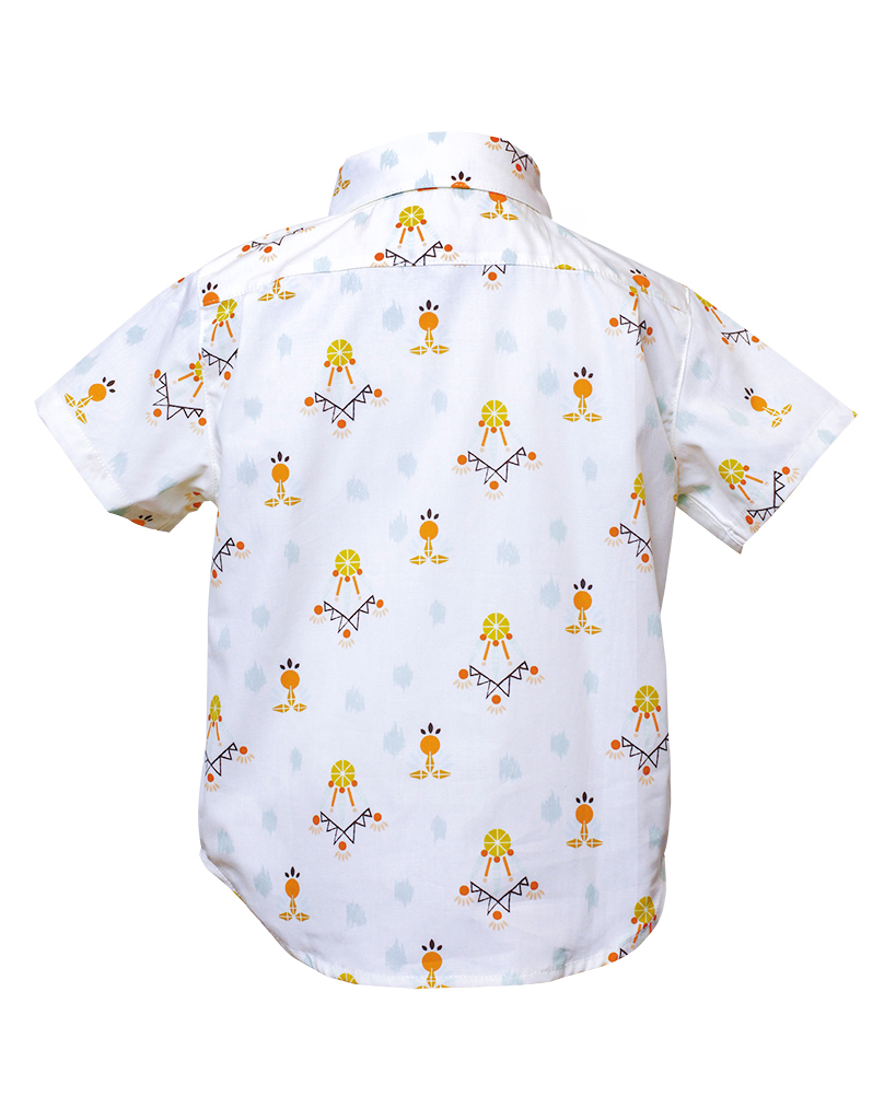 Kids Dreamcatcher Print Short Sleeve Button Up Back.jpg