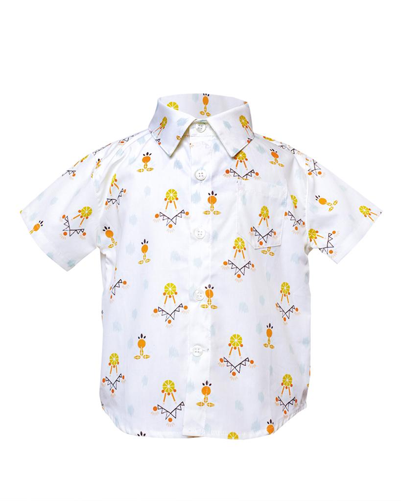 Kids Dreamcatcher Print Short Sleeve Button Up Front.jpg