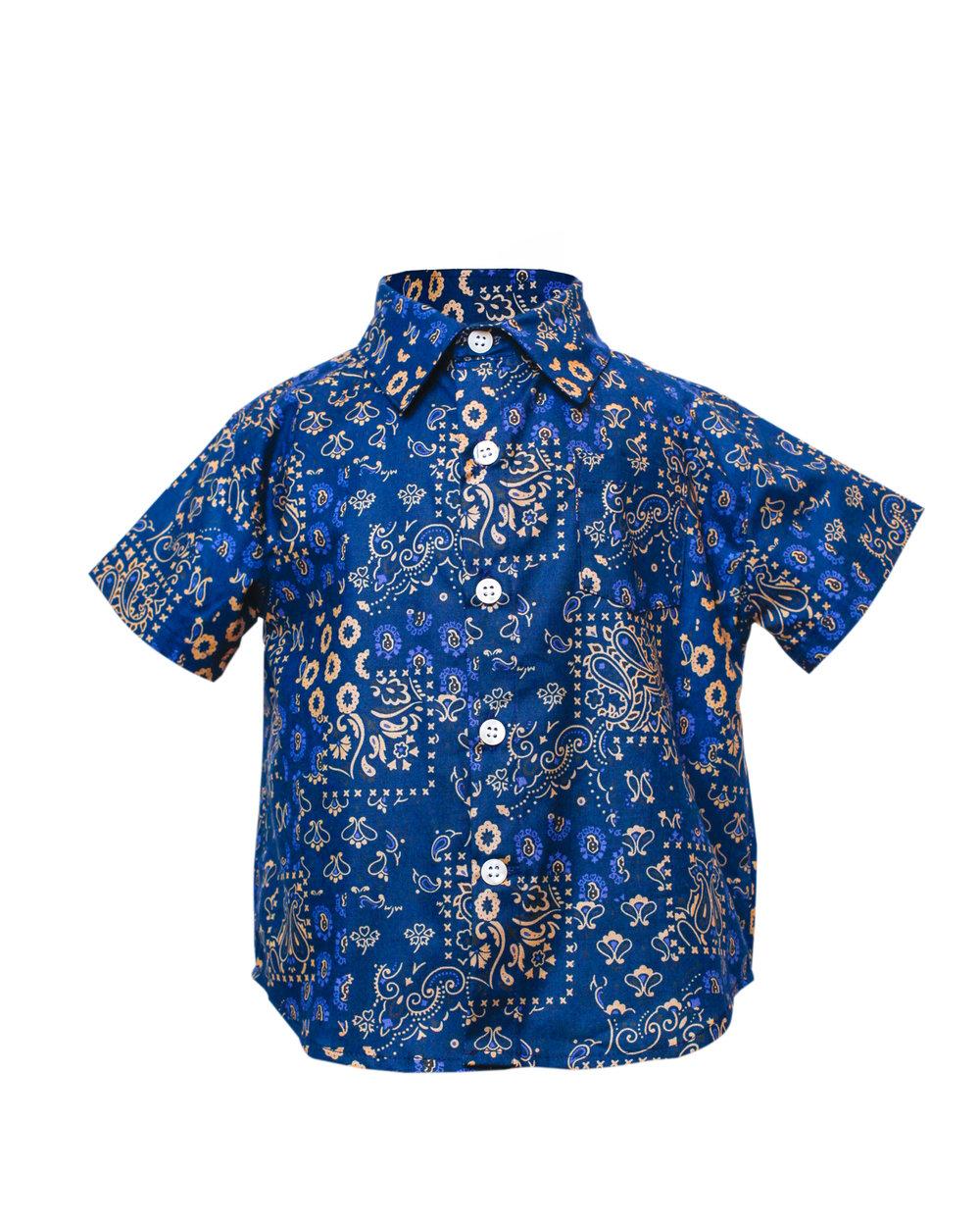 Kids Indigo Patchwork Short Sleeve Button Up Front.jpg