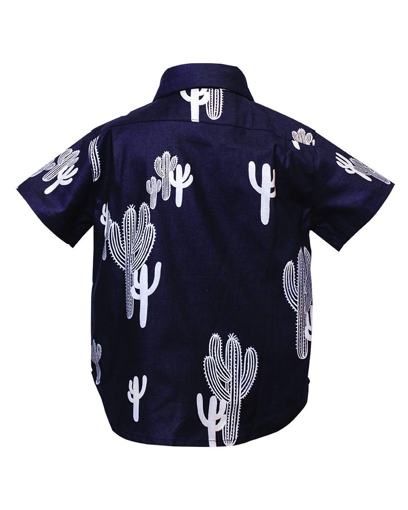 Kids Navy Cactus Short Sleeve Button Up Back.jpg