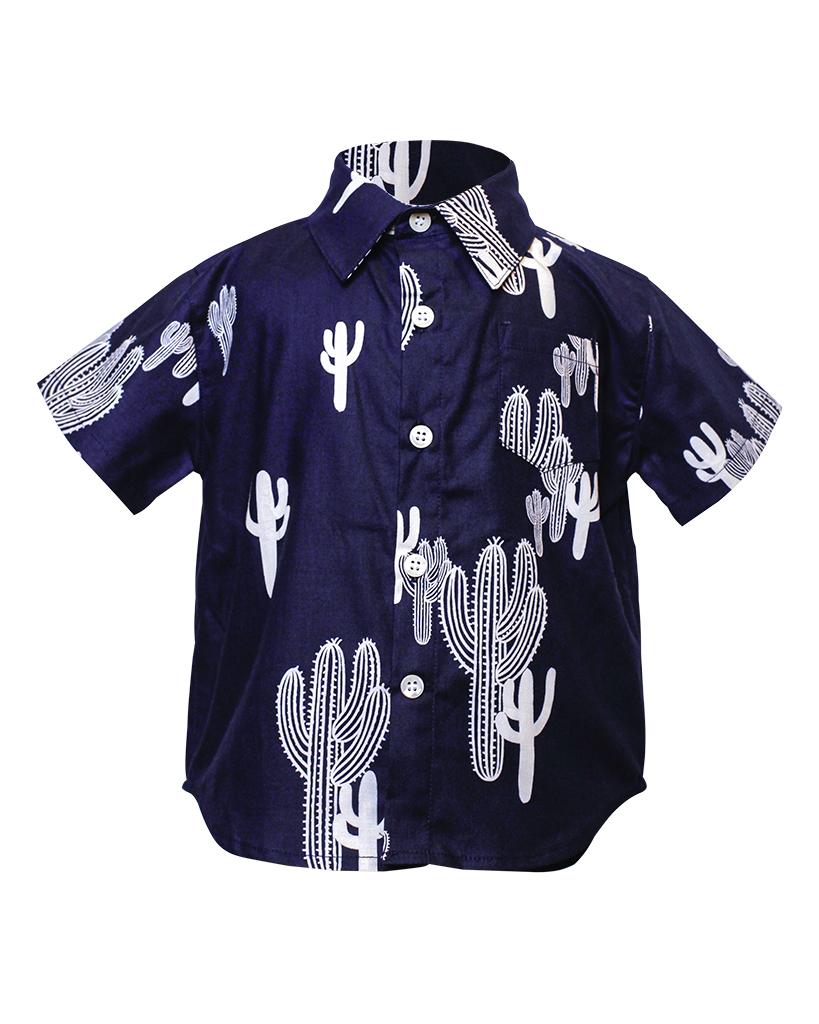 Kids Navy Cactus Short Sleeve Button Up Front.jpg