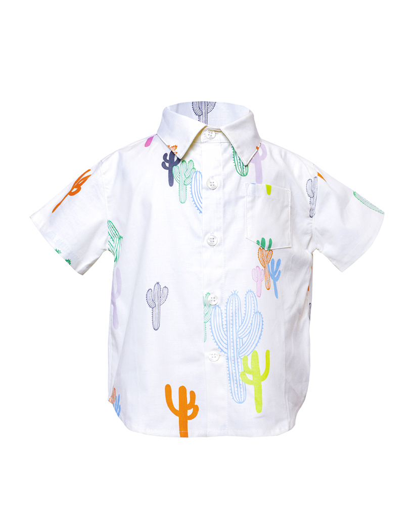 Kids White Cactus Print Short Sleeve Button Up Front.jpg