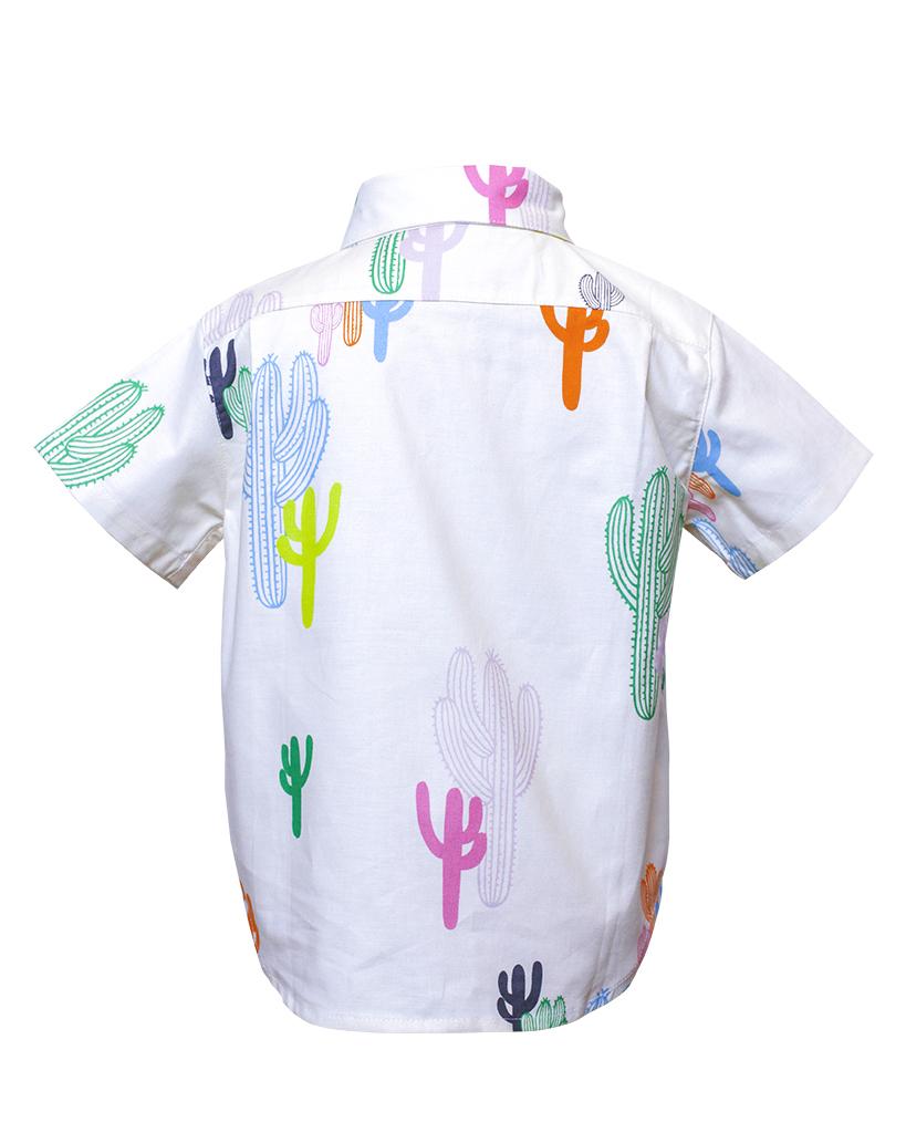 Kids White Cactus Print Short Sleeve Button Up Back.jpg