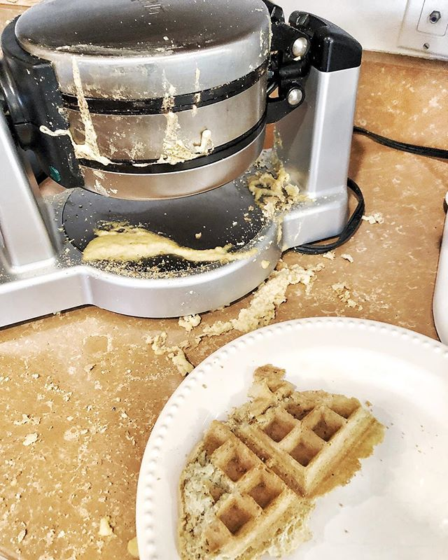 Preston decided he had to have @againstallgrain #aag waffles from #mealsmadesimple this morning and that he was going to make it all by himself! It looks like a waffle exploded in my kitchen but he did it!!! (minus the sweetener by accident 🤫😉) It's not always pretty but I love seeing my kids in the kitchen! #bakingwithkids #momofboys #lifewithkids #aag #grainfreewaffles . . Mamas going to go make herself and egg 🍳😂