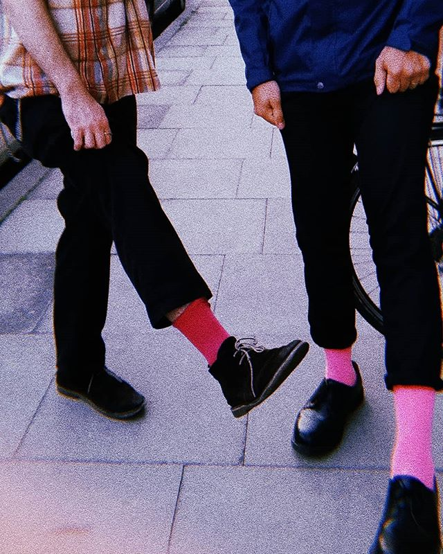It was the days of red and pink socks. . . . . #red #pink #pinksocks #socks #band #happydays #nostalgia #bandmates