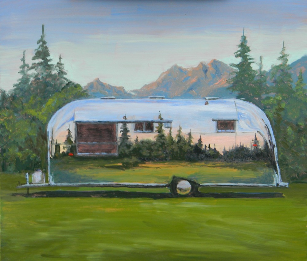Airstream in the Sawtooths 12x12 oil on copper $400.00