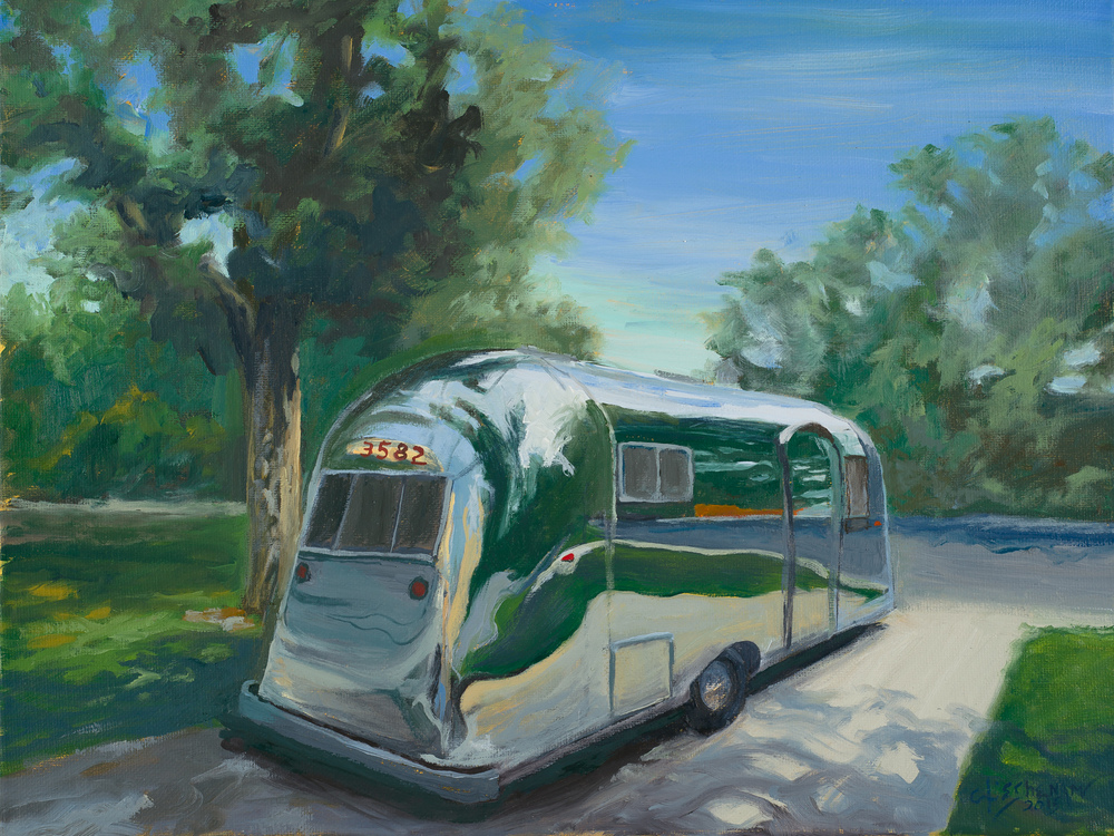 Pete's Airstream 12x16 oil on canvas $400.00