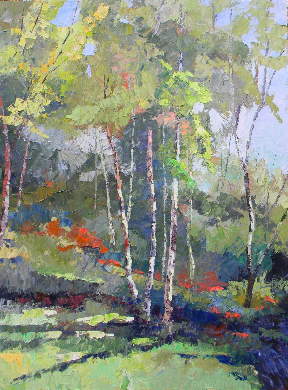 Cottonwoods on the Boise 30x40 oil on Birch panel $3200.00